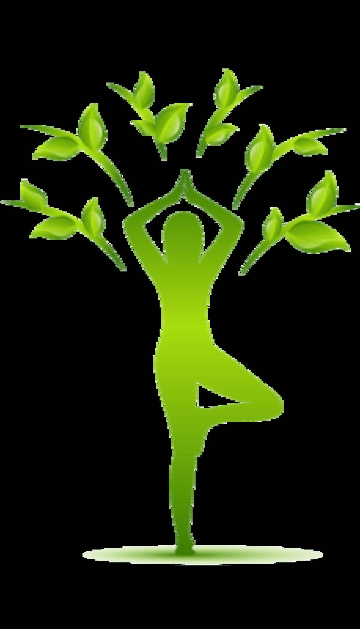 Pose einer Person in dem Asana Baum und es wachsen Blätter aus den Armen, um einen echten Baum zu symolieren
