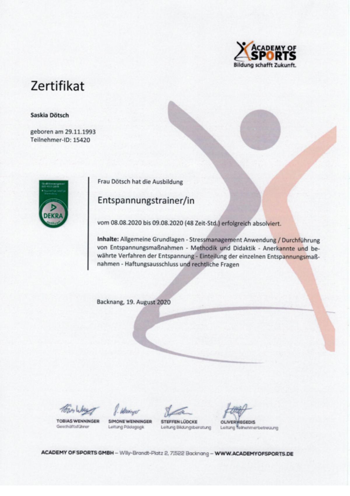 Zertifikat zur Ausbildung zum Entspannungstrainer
