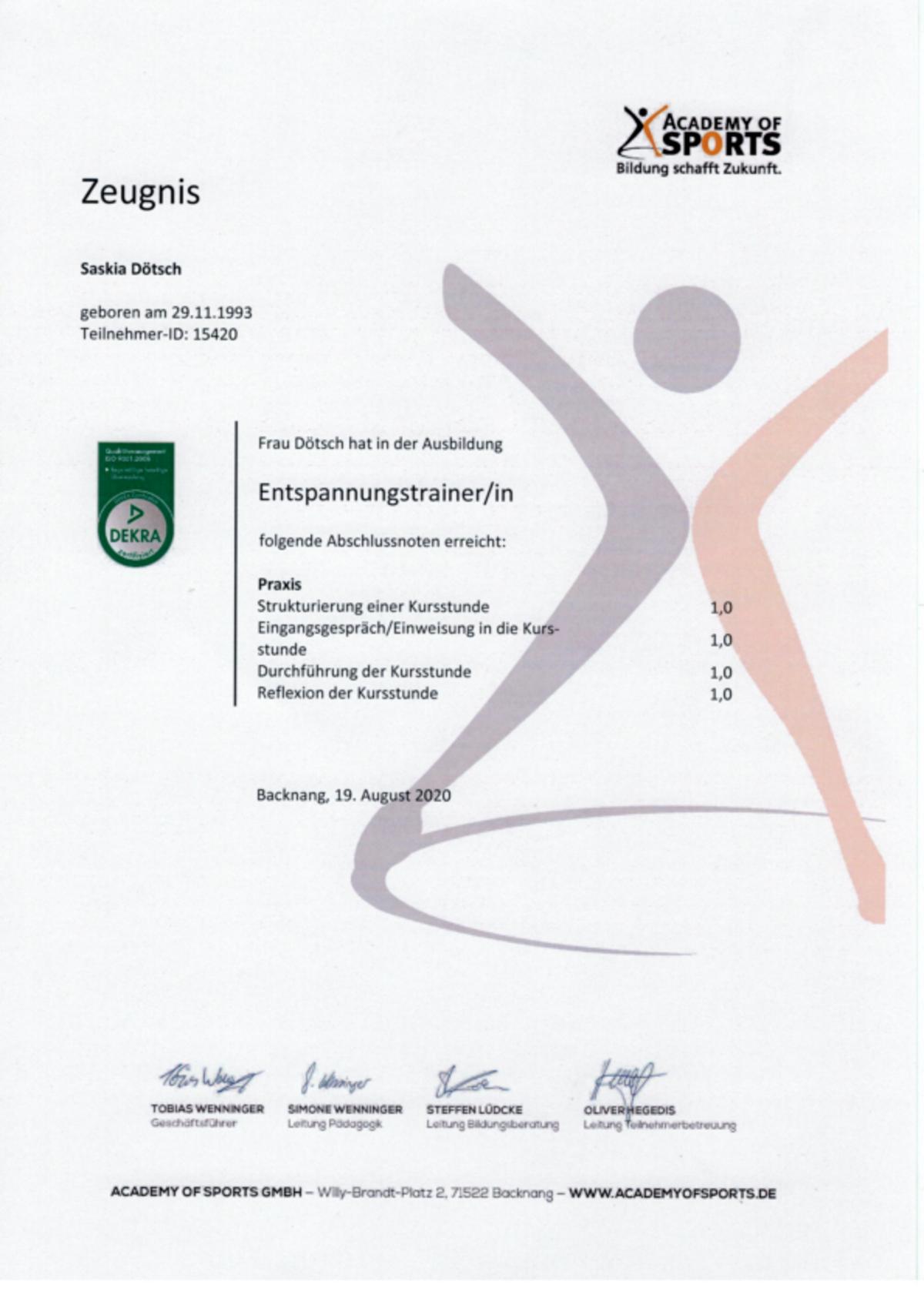 Zertifikat als Entspannungstrainer und Entspannungstherapeut