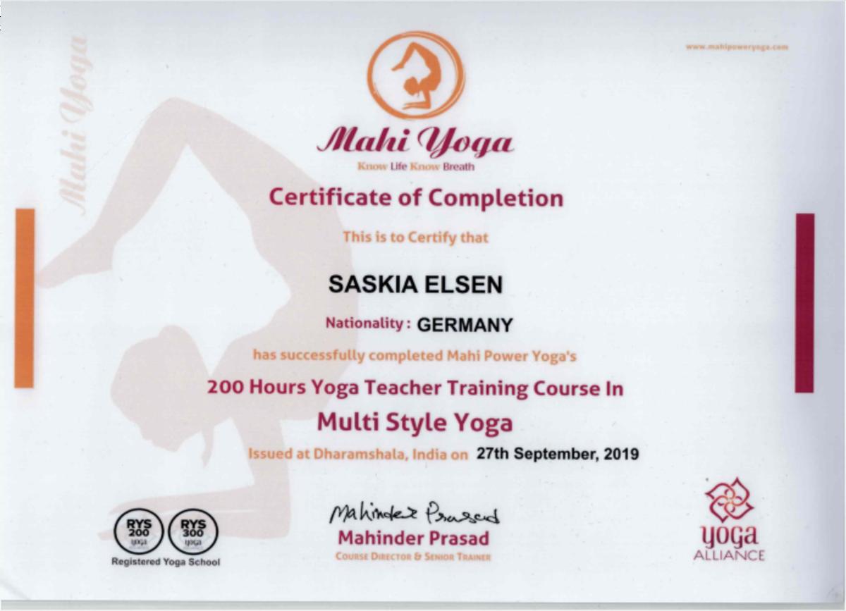 Zertifikat der Ausbildung zur Yogalehrerin, Yoga-Ausbildung in Indien absolviert