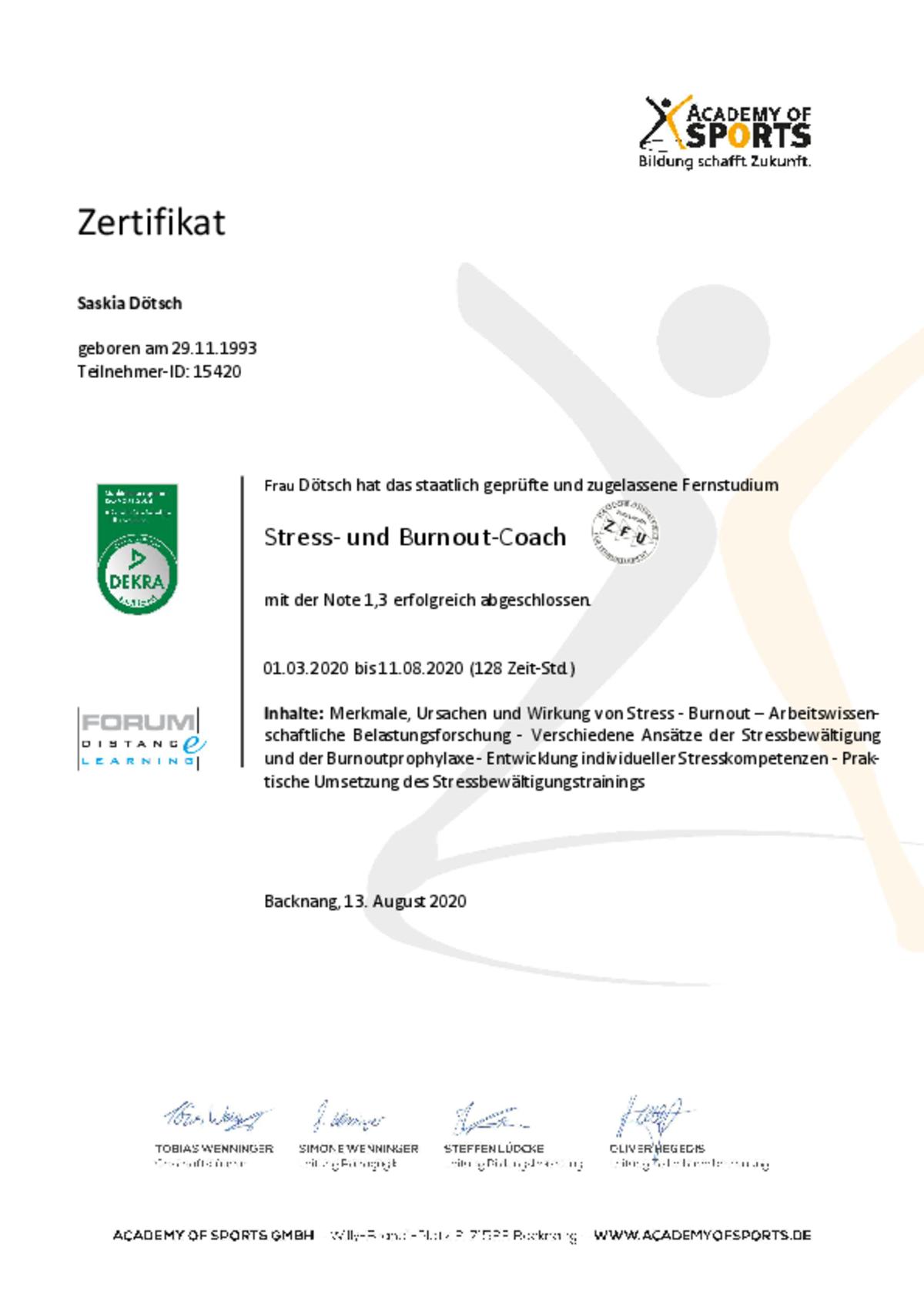 Zertifikat zur Ausbildung als Coach für Stressmanagement und Burnout sowie Burnoutprophylaxe